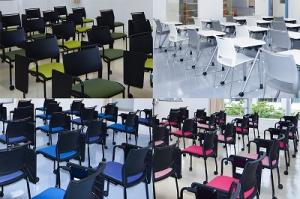 教室は(左上から時計回り順で)大地/芽吹き、空、大地/実り、海、そして太陽の5つのテーマに沿ってコーディネートされています。